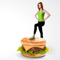 woman standing on hambruger