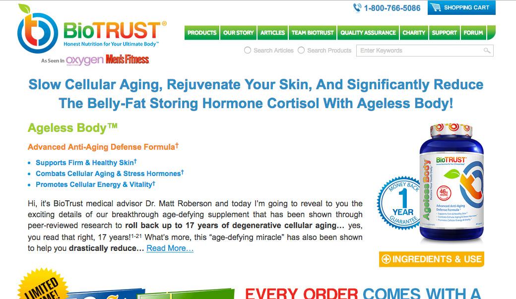 Screenshot of BioTrust Website